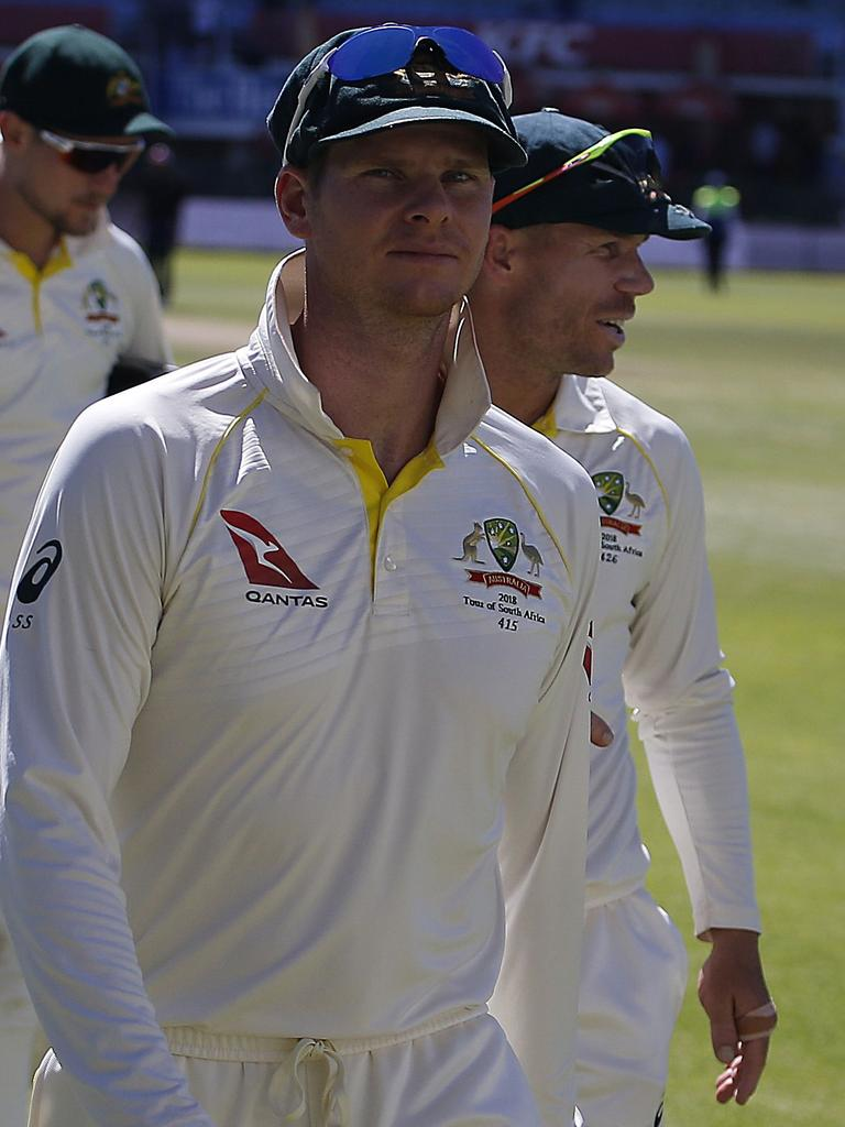 David Warner (R) and Steve Smith in South Africa just before the scandal broke.