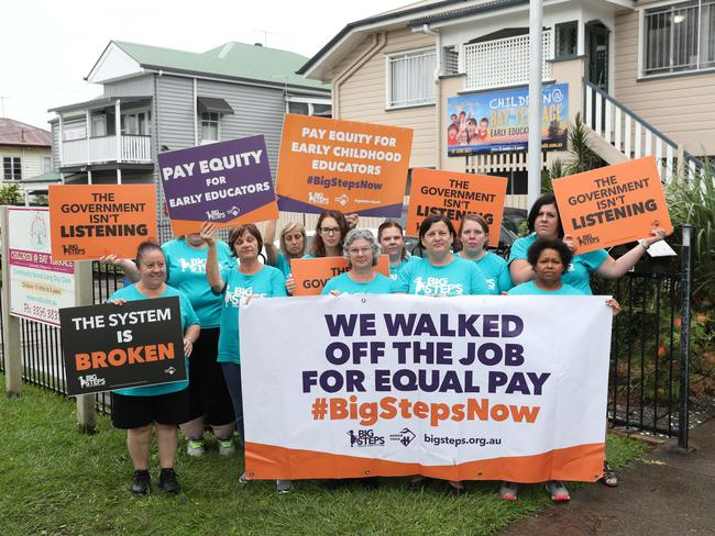 Childcare workers have been going on strike across the country. Picture: Peter Wallis