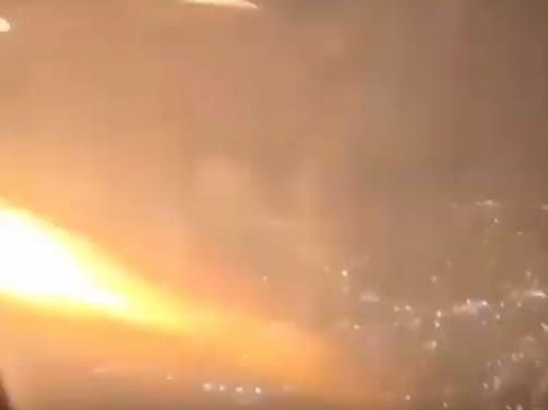 The apparent engine fire was caught on camera. Picture: Supplied