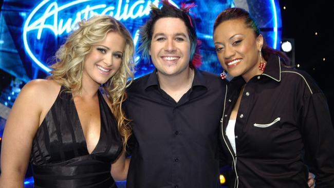 Australian Idol final 3: Kate DeAraugo with Lee Harding and Emily Williams.
