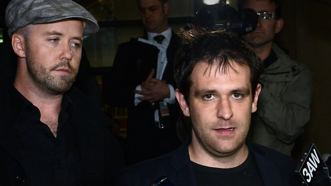 Tom Meagher, husband of Jill Meagher, outside court. Jill's brother Michael McKeon is on the left. Picture: Alex Coppel