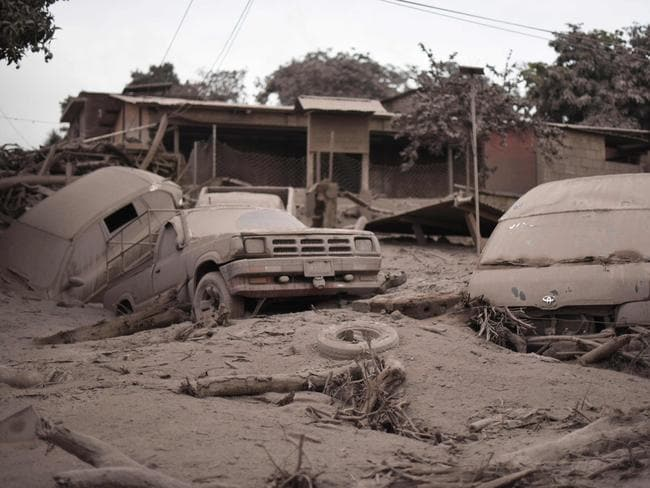 View of the damage caused by the eruption of the Fuego Volcano in San Miguel Los Lotes, a village in Escuintla Department, about 35km southwest of Guatemala City. Picture: AFP