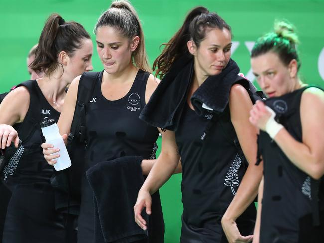 New Zealand players leave the court after their shock loss to Malawi. Picture: Getty Images