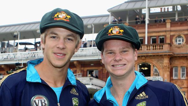 Tim Paine (L) and Steven Smith both debuted in the same Test against Pakistan.