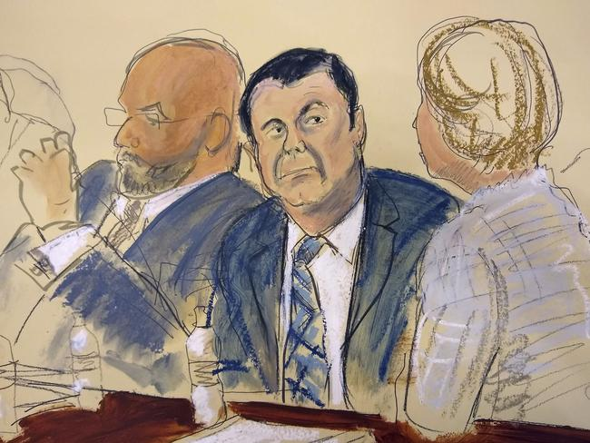 """Courtroom sketch Joaquin """"El Chapo"""" Guzman, centre, who has pleaded not guilty to charges that he amassed a multi-billion-dollar fortune smuggling drugs into the US. Picture: AP"""