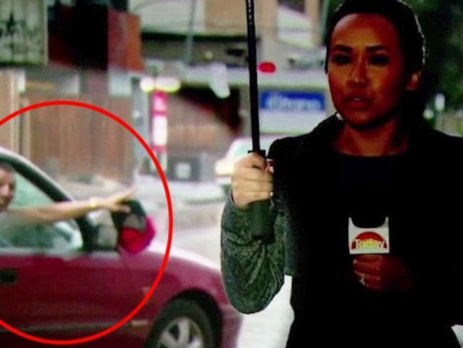 Neary Ty was confronted by the same maroon car this morning. Picture: Channel 9