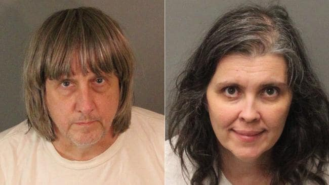 David Allen Turpin, left, and Louise Anna Turpin in their police mugshots. Picture: Riverside County Sheriff's Department/AP