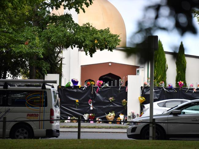 Flowers are seen at the Al Noor Masjid on Deans Rd in Christchurch. Picture: AAP