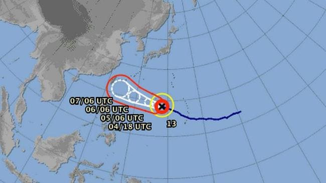 A map showing the path of Super Typhoon Soudelor. Pic: Japan Meteorological Agency.