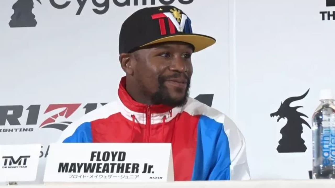 Floyd Mayweather's next fight will be in Japan on New Year's Eve against a kickboxer/MMA fighter. Here he is seen at a press conference announcing the RIZIN fight.