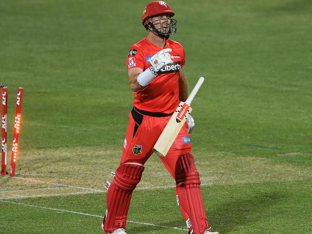 Shaun Marsh tossed his bat away in disgust after falling for 13 from 17 balls.