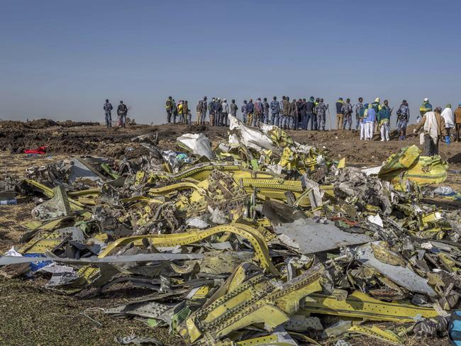 The crash site near Bishoftu, Ethiopia. Picture: AP/Mulugeta Ayene, File