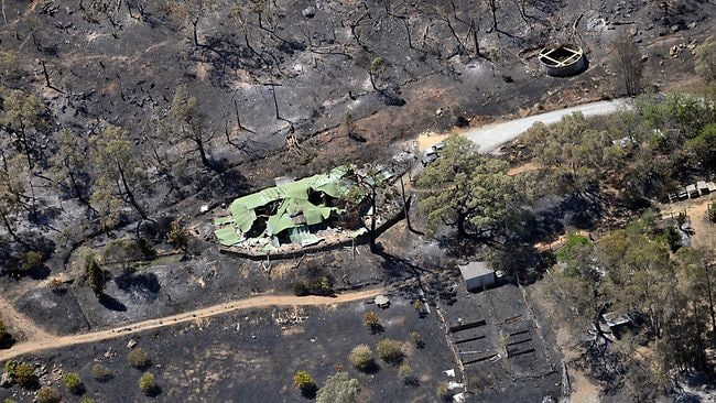 PerthNow News Fires Roleystone Aerial pictures of burnt out houses Roleystone area