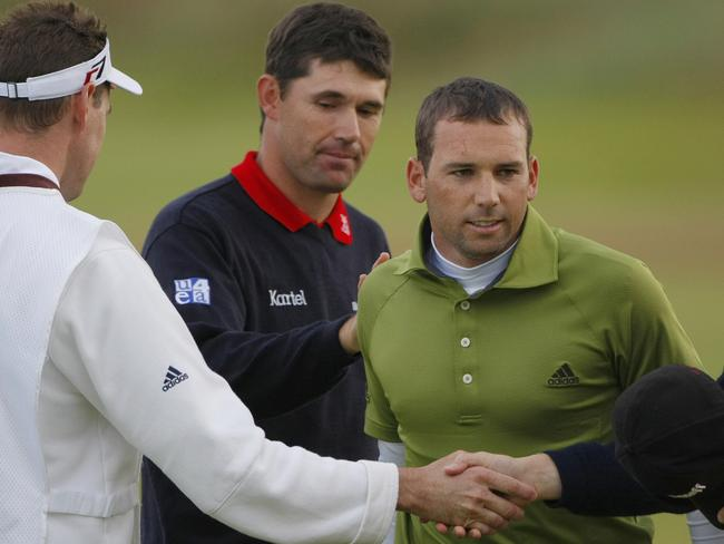Padraig Harrington and Sergio Garcia after the 2007 British Open.