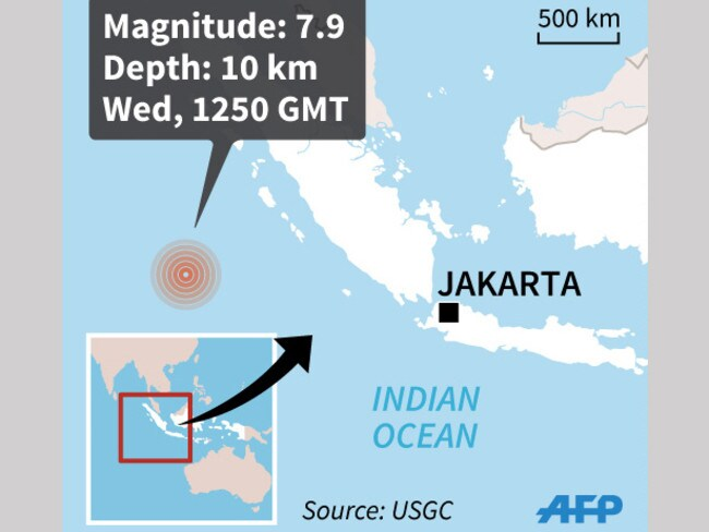 Map showing the epicenter of 7.9-magnitude quake that hit Indonesia. Picture: AFP