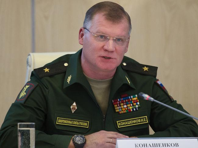 Russian defence ministry spokesman Major General Igor Konashenkov has denied Russian involvement in the downing of MH17. Picture: AP/Ivan Sekretarev