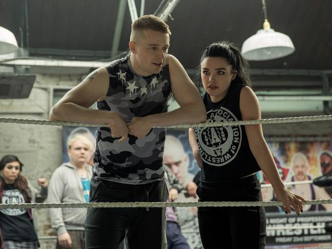 Jack Lowden and Florence Pugh in Fighting With My Family.