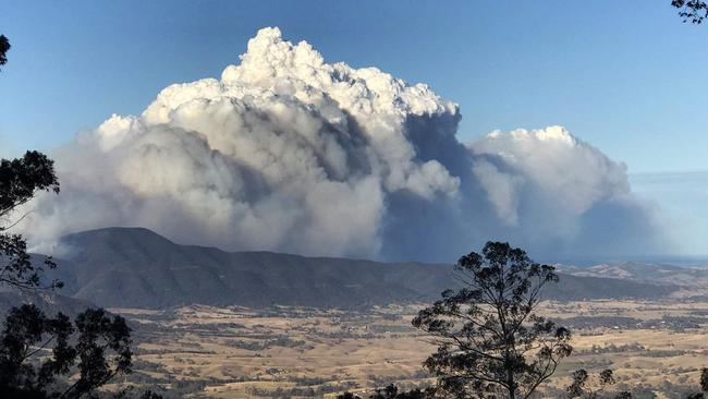 The view over Bega Valley to the fire at Bemboka from Brown Mountain on Wednesday.