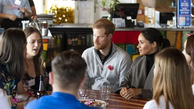 The couple discussed mental health stigma with the young men and women. Photo: Mark Mitchell/Getty Images