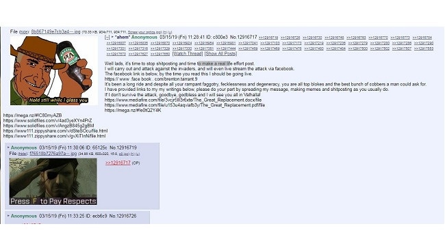 Tarrant announced on internet forum 8chan that he would carry out the attack. Picture: 8chan