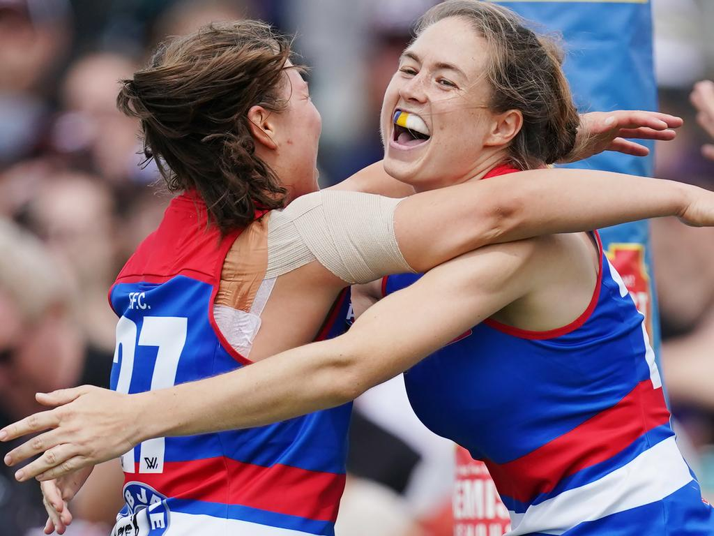 Danielle Marshall of the Bulldogs celebrates a goal during the Round 1 AFLW match between the St Kilda Saints and Western Bulldogs at RSEA Park in Melbourne, Sunday, February 9, 2020. (AAP Image/Michael Dodge) NO ARCHIVING, EDITORIAL USE ONLY