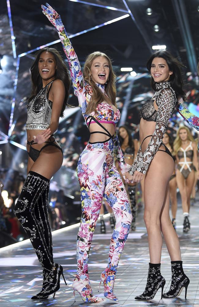 Cindy Bruna, Gigi Hadid and Kendall Jenner and walk the runway during the 2018 Victoria's Secret Fashion Show at Pier 94 in New York earlier this month. Picture: AP