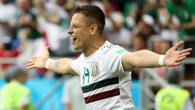Javier Hernandez of Mexico celebrates. (Photo by Clive Mason/Getty Images)