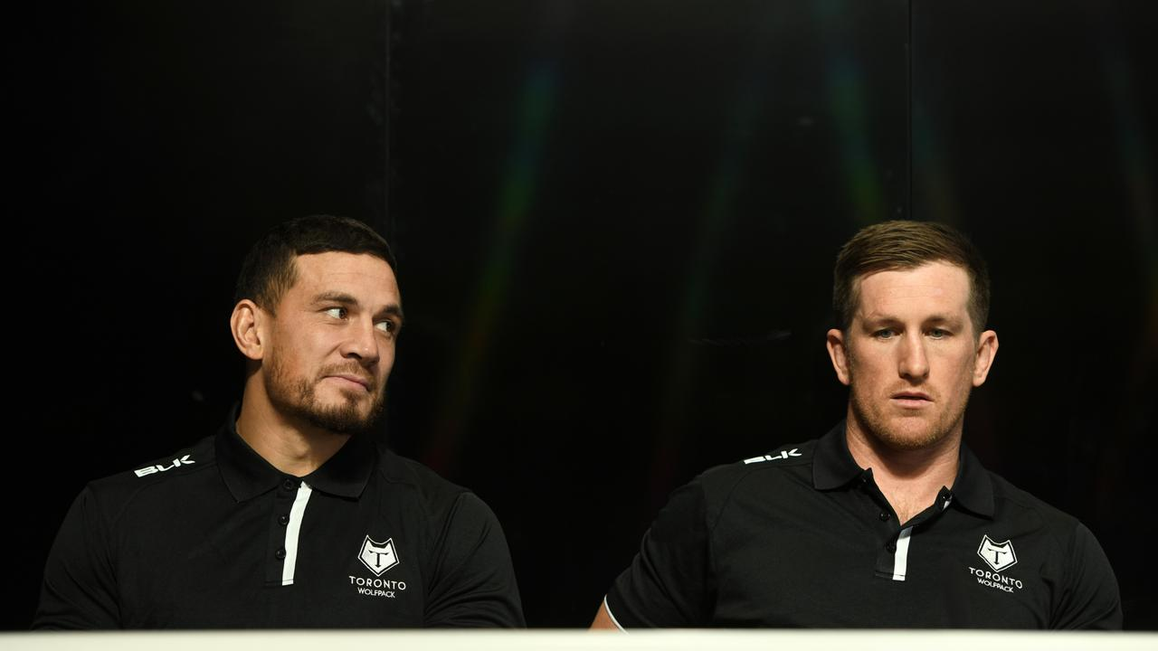 Sonny Bill Williams with teammate and captain Josh McCrone