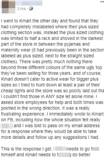 The woman wasn't thrilled by the experience at Kmart. Source: Facebook