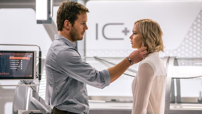 Jennifer Lawrence and Chris Pratt in a scene from film Passengers