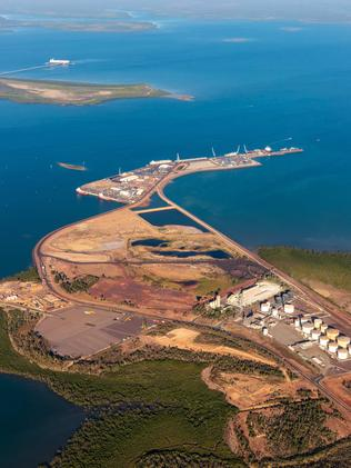 An aerial view of Darwin Port and Darwin Harbour, leased to the Chinese for a song.