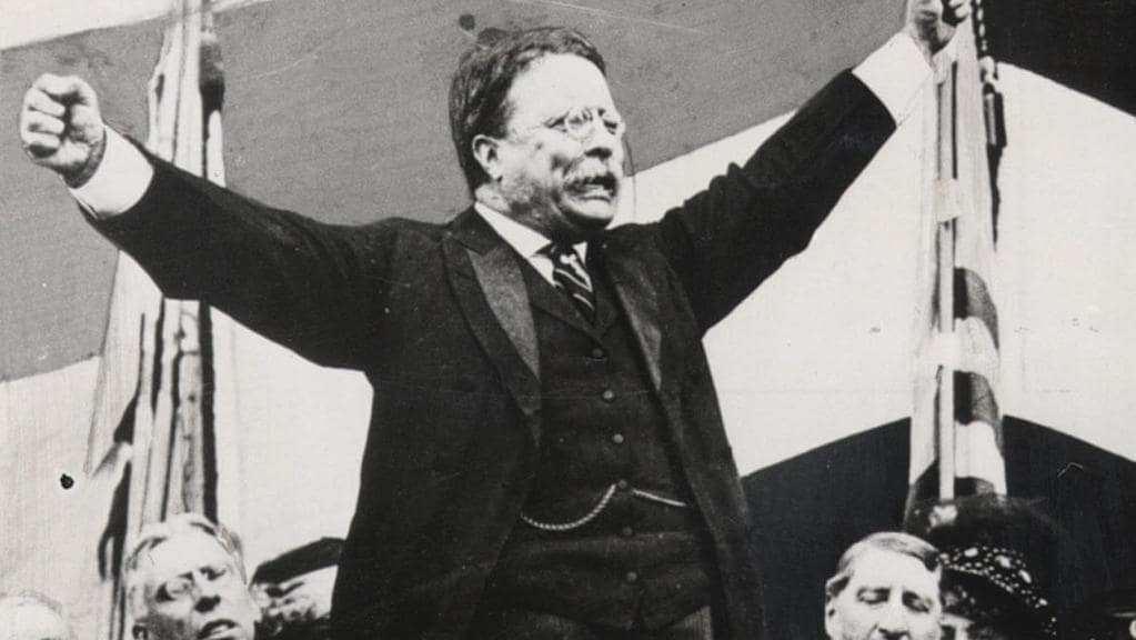 US presidential candidate Theodore Roosevelt, campaigning in 1912.