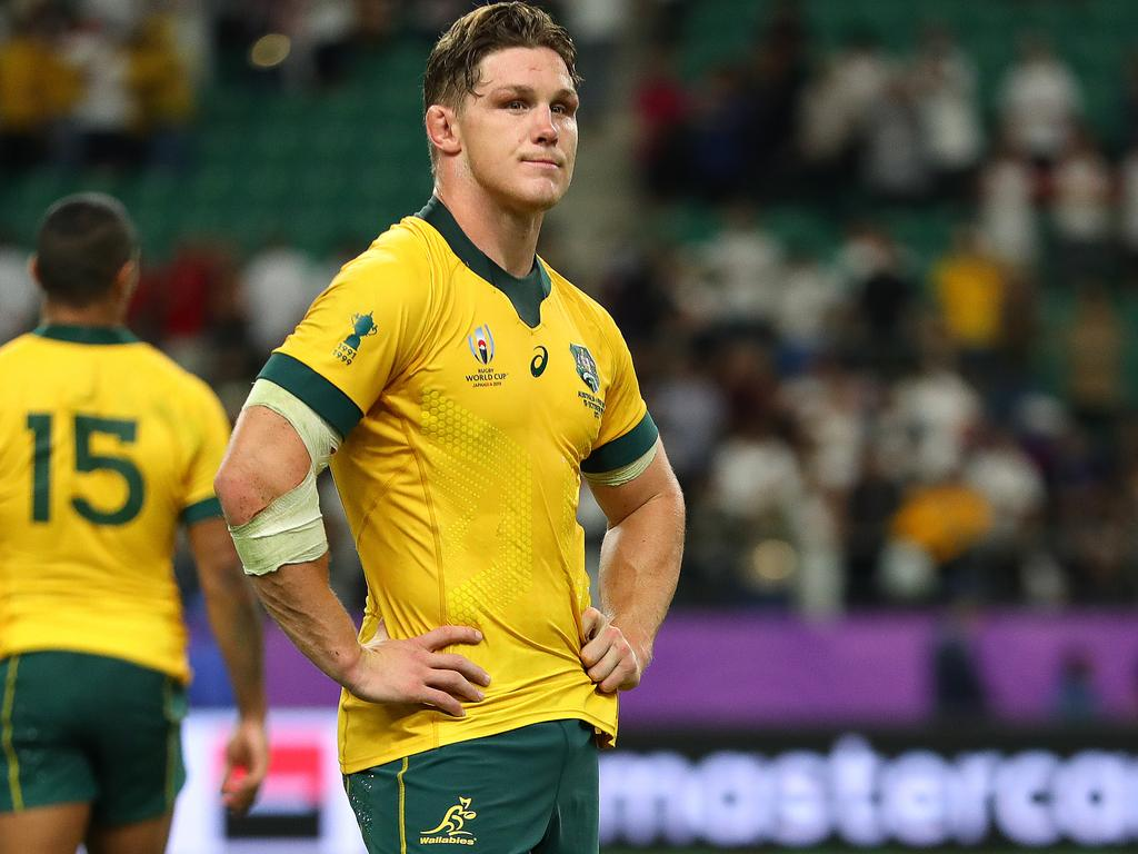 OITA, JAPAN - OCTOBER 19: Michael Hooper of Australia looks dejected in defeat after the Rugby World Cup 2019 Quarter Final match between England and Australia at Oita Stadium on October 19, 2019 in Oita, Japan. (Photo by Dan Mullan/Getty Images,)