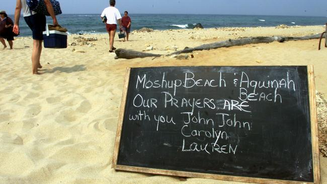 The search for the plane of John F. Kennedy Jr., his wife and sister-in-law on Moshop Beach near the clay cliffs of Aquinnah. Picture: John Bohn/The Boston Globe via Getty Images