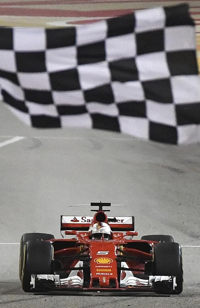 Sebastian Vettel crosses the finish line to win the Bahrain GP.