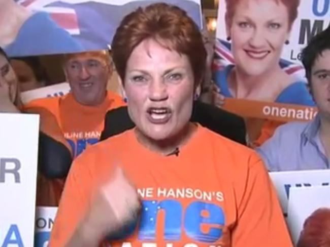 Pauline Hanson loses her cool on Channel 9 on Saturday night.