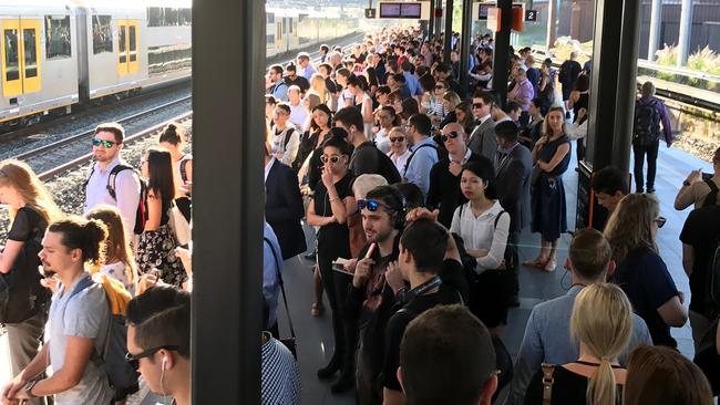 The congestion at Newtown station in Sydney on Thursday morning. Picture: David Coyne