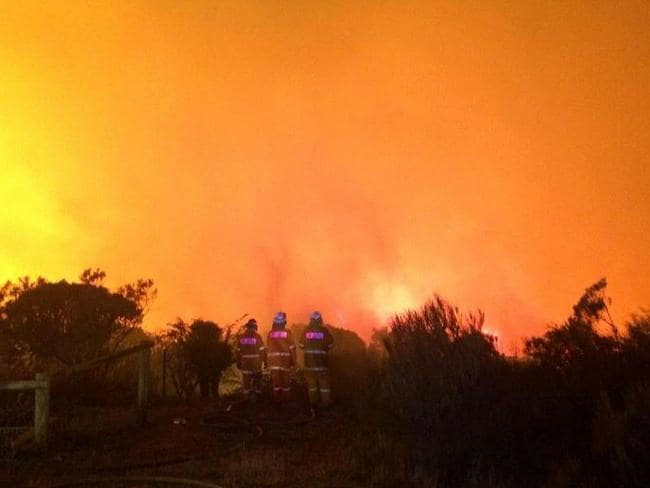 The fire front approaching Coronation road Wentworth Falls on Sunday night. Pic: 7 News.