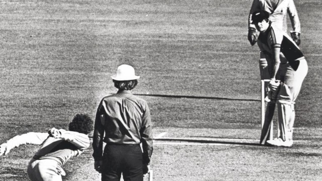 Trevor Chappell bowling underarm to Brian McKechnie. a/ct /Cricket/World/Series/Cup