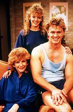 "Actor Anne Charleston with Kylie Minogue and Craig McLachlan from TV program ""Neighbours"" in 1988."