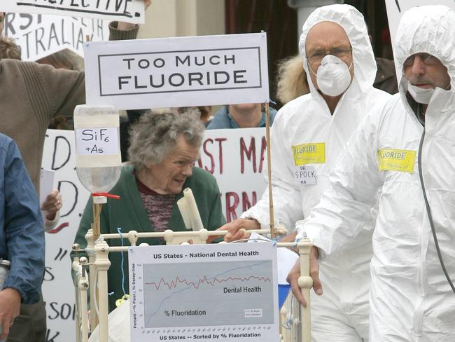 An anti-fluoride protest in Geelong, one of many that have been held across the country.