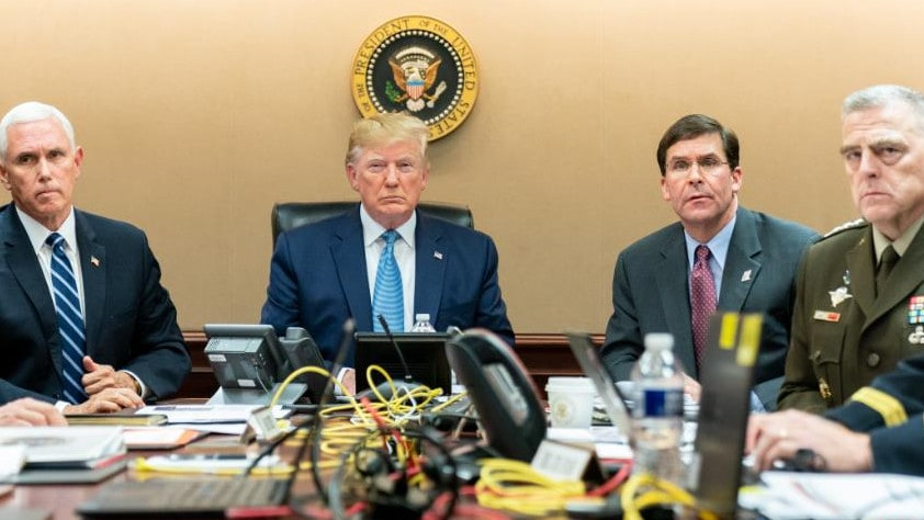 Donald Trump in the Situation Room with Vice President Mike Pence, Defence Secretary Mark Esper and Chairman of the Joint Chiefs Mark Milley. Picture: AP/White House