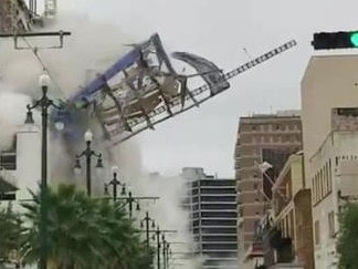 Dramatic footage posted on Twitter shows the moment the hotel collapsed.