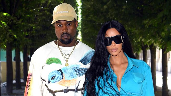 Kim and Kanye at Paris Fashion Week. Picture: Getty