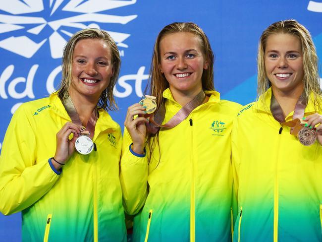 Silver medalist Jessica Ashwood of Australia, gold medalist Ariarne Titmus and bronze medalist Kiah Melverton