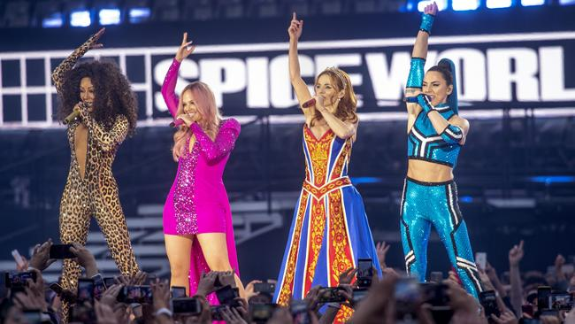 Mel B, Emma Bunton, Geri Halliwell and Melanie C of The Spice Girls perform on the first night of their reunion tour on May 24, 2019 in Dublin, Ireland.