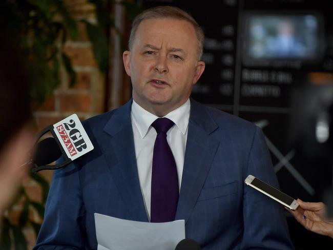 Anthony Albanese announcing he will run for the party's leadership. Picture: Peter Parks/AFP