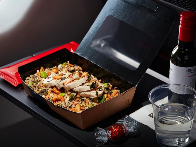 Chicken, anyone? Qantas' Asian rice salad with soy and cashew crumble.