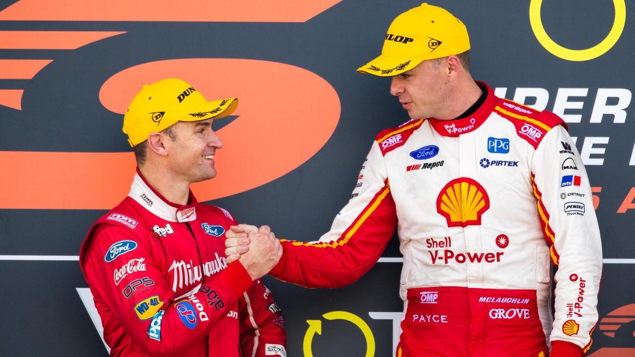Davison congratulates McLaughlin on the podium after Race 22.