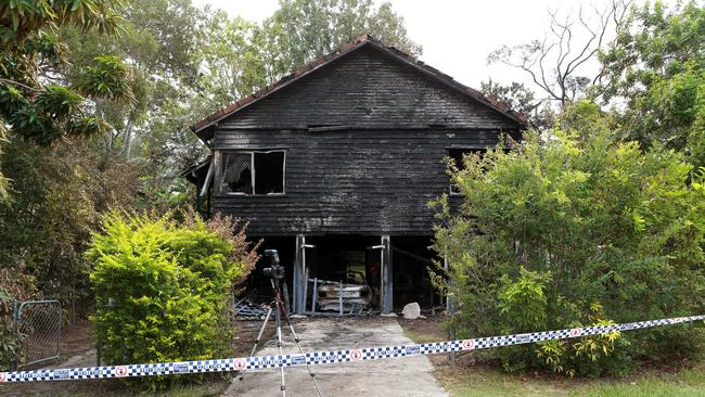 The Bundal St home was well alight when fire crews arrived. Picture: AAP
